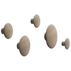 Patère The Dots Wood Set de 5 Muuto chêne naturel en bois
