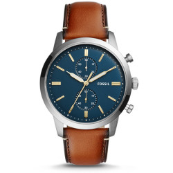 Fossil Men Montre Townsman Chronographe 44 Mm En Cuir Brun Bleu One size