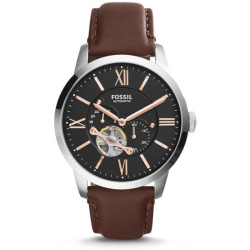 Fossil Men Montre Townsman Automatique En Cuir Brun Marron One size