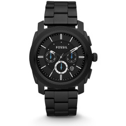 Fossil Men Montre Machine Chronographe En Acier Inoxydable Noir One size