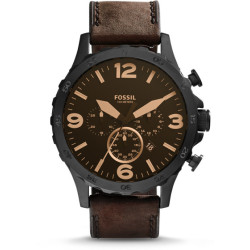Fossil Men Montre Nate Chronographe En Cuir Marron Bleu One size